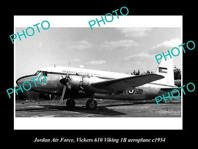 Old Large Historic Photo Of Jordan Air Force, Vickers Viking Plane 1954