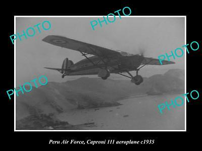 Old Large Historic Photo Of Peru Air Force, Caproni Iii Aeroplane 1935