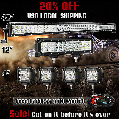 """42Inch Curved LED Light Bar + 12in +4"""" CREE PODS OFFROAD SUV 4WD ATV FOG JEEP 50"""