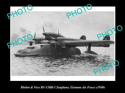 Old Large Historic Aviation Photo Of Blohm & Voss Seaplane German Air Force 1940