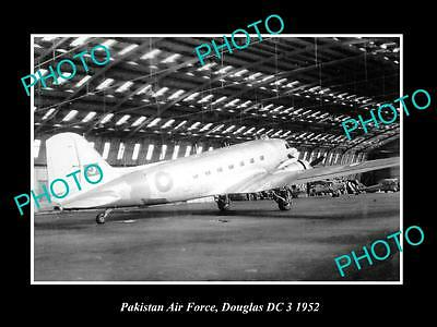 Old Large Historic Photo Of Pakistan Air Force, Douglas Dc3 Plane 1952