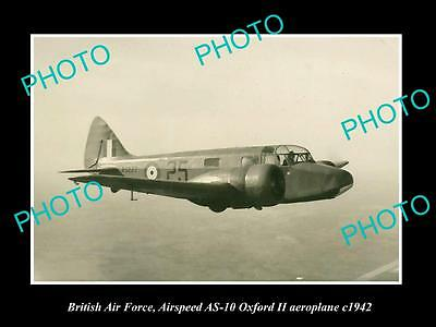 OLD LARGE HISTORIC PHOTO OF BRITISH AIR FORCE, RAF AIRSPEED OXFORD PLANE c1942