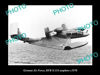 OLD LARGE HISTORIC AVIATION PHOTO OF RFB X-114 SEAPLANE, GERMAN AIR FORCE c1970