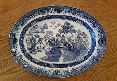 Blue Willow Large Turkey 18 1/2 x 14 Oval Serving Platter ~ Japan ~ EUC