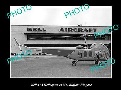 OLD LARGE HISTORIC AVIATION PHOTO OF BELL 47a HELICOPTER c1946, BUFFALO, NIAGARA