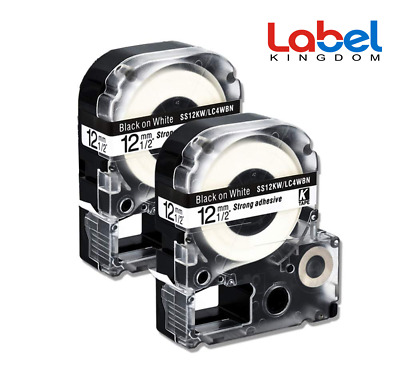 SS12KW Compatible for EPSON LW300 LW400 LW700 12mm Black on White Label Tape 2PK