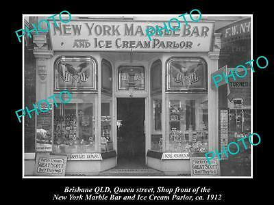 OLD LARGE HISTORIC PHOTO OF BRISBANE QLD, NEW YORK ICE CREAM PARLOR SHOP c1912
