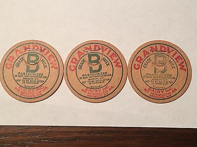 (3) Different Milk Bottle Caps - Grandview Dairy Inc - Brooklyn, NY