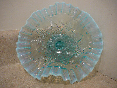 S20 Vintage Dugan Blue Opalescent Glass Threaded Grape Footed Compote Bowl