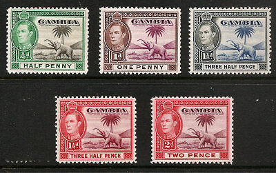 Gambia 132-134A  135A Extra Light Hinged George Vi Elephant Free Shipping In Usa