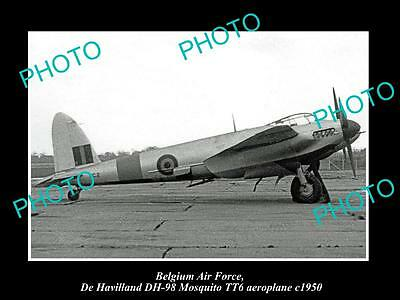 OLD LARGE HISTORIC PHOTO OF BELGIUM AIR FORCE DE HAVIALLAND MOSQUITO PLANE 1950b