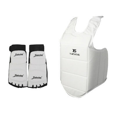 Martial Arts MMA Sparring Chest Protector Body Guard + TaeKwonDo Foot Pads