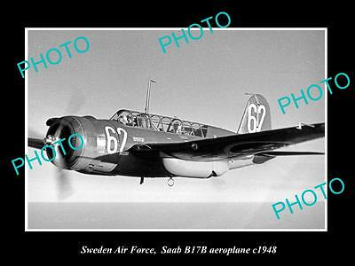Old Large Historic Photo Of Sweden Air Force, Saab B17B Aeroplane 1948