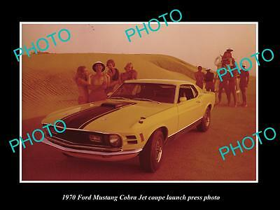 Old Large Historic Photo Of 1970 Ford Mustang Cobra Jet Coupe Launch Press Photo