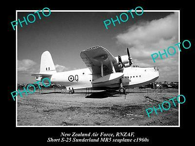 Historic Aviation Photo Of Rnzaf New Zealand Air Force, Sunderland Seaplane 1960