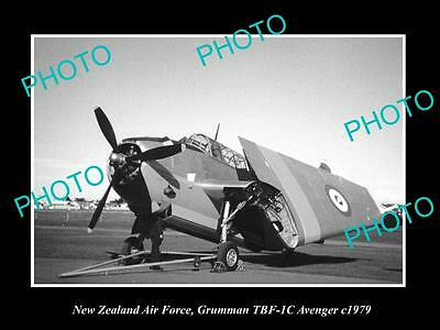 Old Historic Photo Of New Zealand Air Force, Grumman Avenger Plane 1979