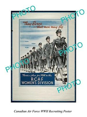 Large Historic Photo Of Canadian Air Force Rcaf Wwii Recruiting Poster 6
