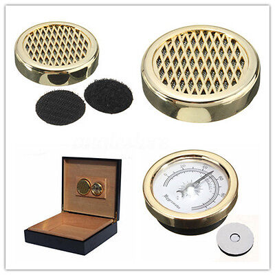 "1.5"" Gold Vintage Smoking Tobacco Hygrometer +Round Humidifier For Cigar Humidor"
