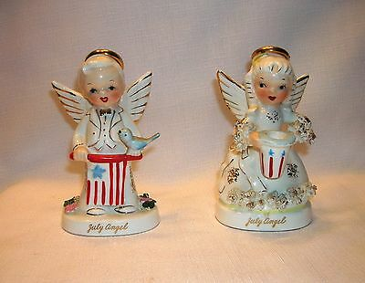 2 Vintage Napco Porcelain Spaghetti July Angel Uncle Sam Patriotic Figurines