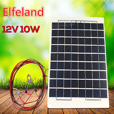 10W 12VSolar Panel Battery Charger / top up c/w 4m cable Block Diode & Clips