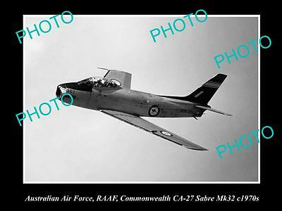 HISTORIC AVIATION PHOTO OF RAAF AUSTRALIAN AIR FORCE, CA-27 SABRE JET c1970s