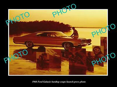 Old Large Historic Photo Of The 1968 Ford Galaxie Coupe Launch Press Photo