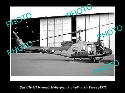 OLD HISTORIC AVIATION PHOTO OF BELL IROQUOIS HELICOPTER, AUSTRALIAN RAAF c1978