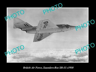 Old Large Historic Photo Of British Air Force, Raf Saunders Roe Sr-53 Plane 1950