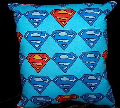 New Handmade Superman Symbol Travel/ Toddler/ Bed/ Car Pillow Light Blue
