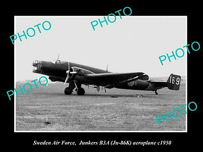 Old Large Historic Photo Of Sweden Air Force, Junkers B3A Aeroplane 1950