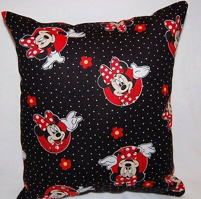 New Handmade Disney Minnie Mouse  Black Circles  Toddler Car Travel  Pillow