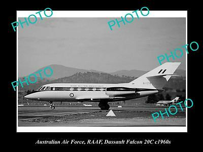 Historic Aviation Photo Of Raaf Australian Air Force, Dassault Falcon Plane 1960