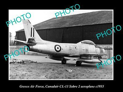 Old Large Historic Photo Of Greece Air Force, Canadair Sabre Plane 1955