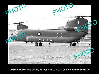 HISTORIC AVIATION PHOTO OF RAAF AUSTRALIAN AIR FORCE, CHINOOK HELICOPTER c1970s