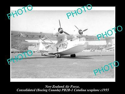 OLD LARGE HISTORIC AVIATION PHOTO OF NEW ZEALAND AIR FORCE RNZAF, CATALINA c1955