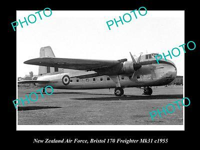 OLD LARGE HISTORIC AVIATION PHOTO OF NEW ZEALAND AIR FORCE RNZAF, BRISTOL c1955