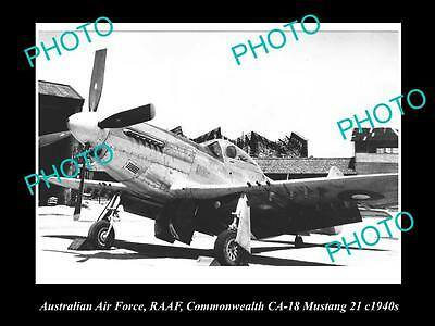 HISTORIC AVIATION PHOTO OF RAAF AUSTRALIAN AIR FORCE, CA-18 MUSTANG c1940s