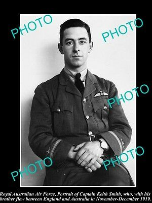 OLD HISTORIC PHOTO OF AUSTRALIAN AVIATION PINOEER, SIR KEITH SMITH, RAF c1919