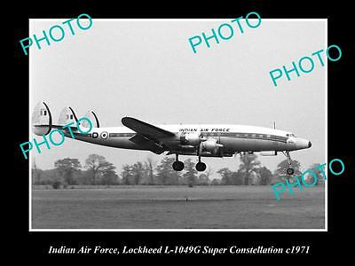 OLD HISTORIC AVIATION PHOTO OF INDIAN AIR FORCE LOCKHEED CONSTELLATION c1971