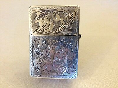 Vintage Sterling Silver Zippo Lighter With 2517191 Insert! Very Nice! Sparks!
