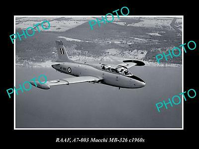 OLD LARGE HISTORIC PHOTO OF RAAF AUSTRALIAN AIR FORCE, MACCHI MB-326 JET c1960s