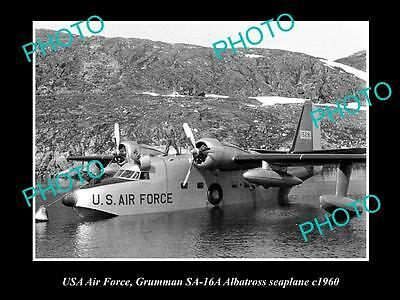 OLD HISTORIC AVIATION PHOTO OF US AIR FORCE GRUMMAN ALBATROSS SEAPLANE c1960