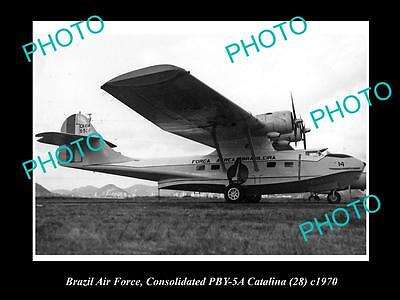 Old Large Historic Aviation Photo Of Consolidated Catalina Brazil Air Force 1970