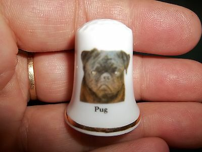 vintage PUG Dog Collectible ceramic Thimble figurine Lim.Edition