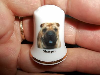 vintage SHAR PEI SHARPEI Dog Collectible ceramic Thimble figurine Lim.Edition