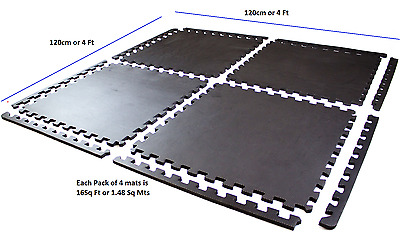 Interlocking Floor Mats  Gym Flooring Play Room Floor Mats 1.48 Sq Mtrs 16 Sq Ft
