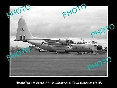 HISTORIC AVIATION PHOTO OF RAAF AUSTRALIAN AIR FORCE, LOCKHEED HERCULES c1960s