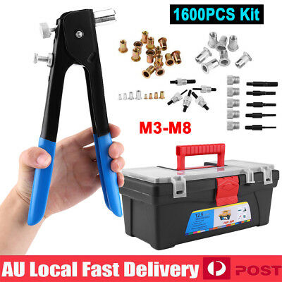 1064PCS Rivnut Rivet Nut Nuts Gun M3 to M8 Rivnuts Nutsert Insert Tool Kit Set