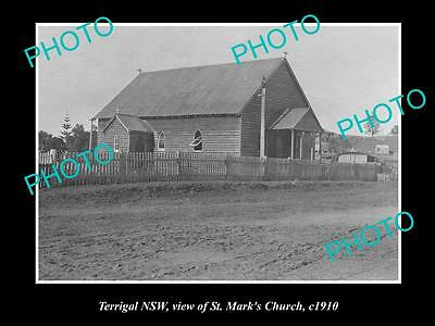 OLD LARGE HISTORICAL PHOTO OF TERRIGAL NSW, VIEW OF St MARKS CHURCH c1910