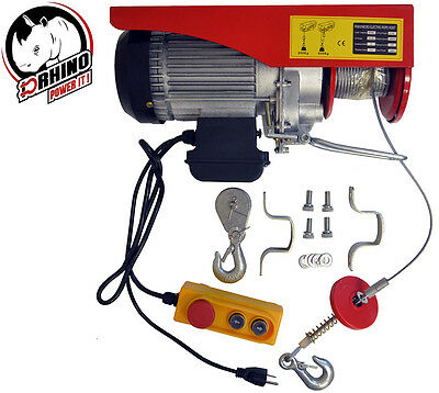 D-Rhino 1320lb Mini Electric Wire Hoist Remote Control Garage Auto Overhead Lift